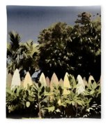 Surfboard Fence - Old Postcard Fleece Blanket