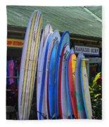 Surfboards At Hanalei Surf Fleece Blanket