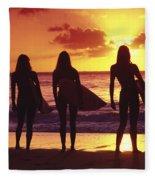 Surfer Girl Silhouettes Fleece Blanket