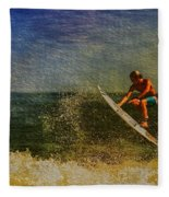 Surfer In Oil Fleece Blanket