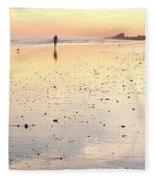 Surfing Sunset Fleece Blanket