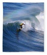 Surfing Under A Rainbow Fleece Blanket