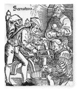 Surgeon Performing An Amputation. Woodcut From An Edition Of Hans Von Gersdoffs Feldtbuch Der Wundartzney, Strassburg, 1540 Fleece Blanket