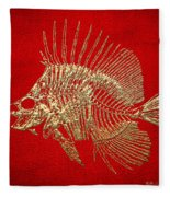 Surgeonfish Skeleton In Gold On Red  Fleece Blanket