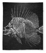 Surgeonfish Skeleton In Silver On Black  Fleece Blanket
