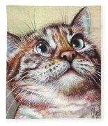 Surprised Kitty Fleece Blanket