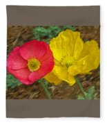 Surprised Poppies Fleece Blanket