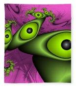 Surreal Green Eyes Fractal Fleece Blanket