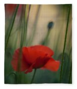 Surrealistic Red Fleece Blanket