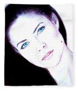 Susan Ward Blue Eyed Beauty With A Mole II Fleece Blanket