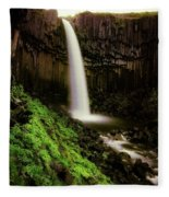 Svartifoss Waterfall, Skaftafell Fleece Blanket