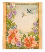 Swallows And Peonies Fleece Blanket