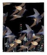 Swallows In The City Fleece Blanket