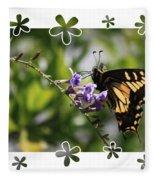 Swallowtail 4 With Flower Framing Fleece Blanket