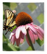 Looking Up At Swallowtail On Coneflower Fleece Blanket