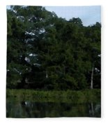 Swamp Cypress Trees Digital Oil Painting Fleece Blanket