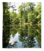 Swampland Reflection At The Plantation Fleece Blanket