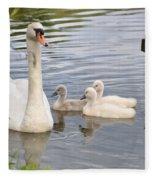 Swan And Chicks Fleece Blanket