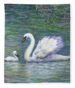 Swan And One Baby Fleece Blanket