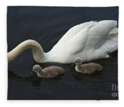 Swan And Signets Fleece Blanket