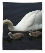Swan And Signets Fleece Blanket