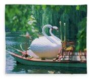 Swan Boats In A Lake, Boston Common Fleece Blanket