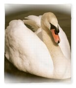 Swan Cameo In Sepia Fleece Blanket