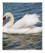Swan On Blue Waves With Border Fleece Blanket