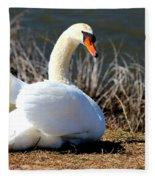 Swan Protects Her Eggs Fleece Blanket