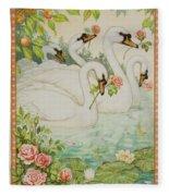 Swan Romance Fleece Blanket