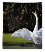 Swan Wings Spread Fleece Blanket