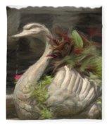 Swan With Beautiful Flowers Fleece Blanket