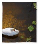 Swan With Sun Reflection On Water. Fleece Blanket