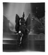 Swann Fountain At Night In Black And White Fleece Blanket