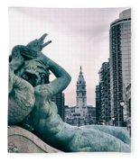 Swann Fountain Statue Fleece Blanket
