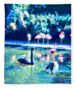 Swans And Flamingos Fleece Blanket