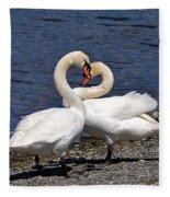Swans Courting Fleece Blanket