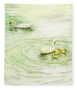 Swans In St. Pierre Fleece Blanket