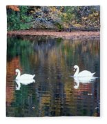 Swans At Betty Allen Fleece Blanket
