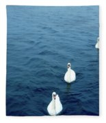 Swans On The Vltava River, Prague Fleece Blanket