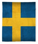 Sweden Flag Vintage Distressed Finish Fleece Blanket