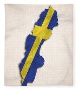 Sweden Map Art With Flag Design Fleece Blanket