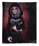 Sweet Betty With Gothic Doll Fleece Blanket