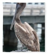 Sweet Brown Pelican - Digital Painting Fleece Blanket