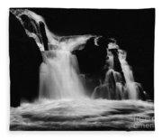 Sweet Creek Falls Oregon Monochrome Fleece Blanket