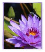 Sweet Dragonfly On Purple Water Lily Fleece Blanket