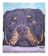 Rottweiler's Sweet Face Fleece Blanket