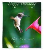 Sweet Hummingbird Birthday Card Fleece Blanket