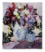 Sweet Peas In A Blue And White Jug With Blue And White Pot And Textiles  Fleece Blanket