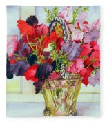 Sweet Peas In A Vase Fleece Blanket